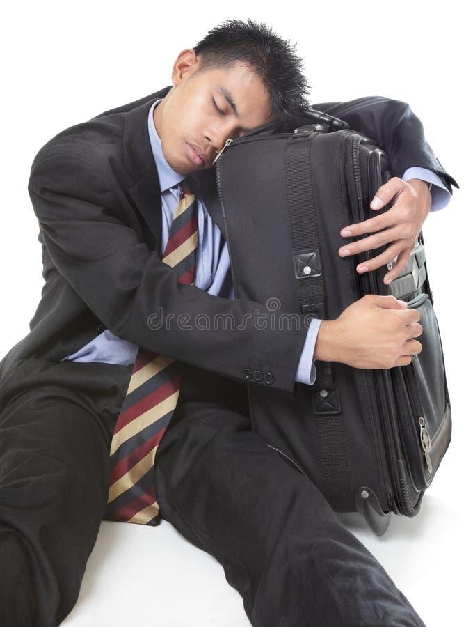 Homme d'affaires de déplacement de sommeil image stock