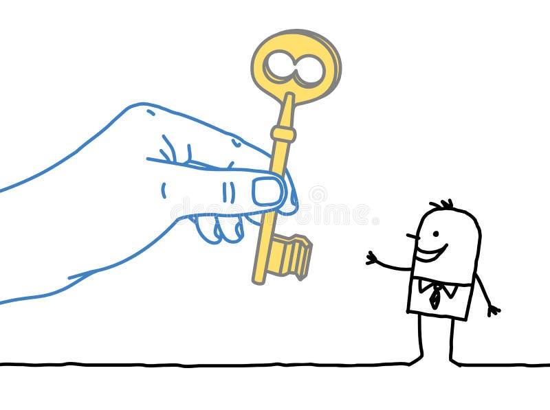 Homme d'affaires de grande main et de bande dessinée - donner la clé illustration stock