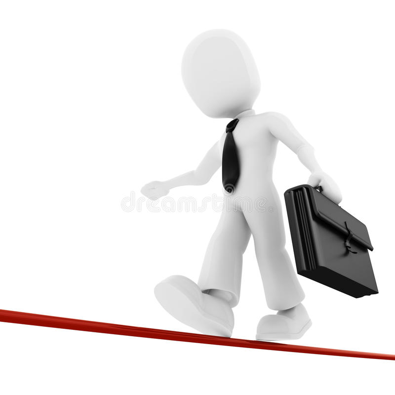 homme d'affaires de l'homme 3d marchant sur la ligne mince illustration stock