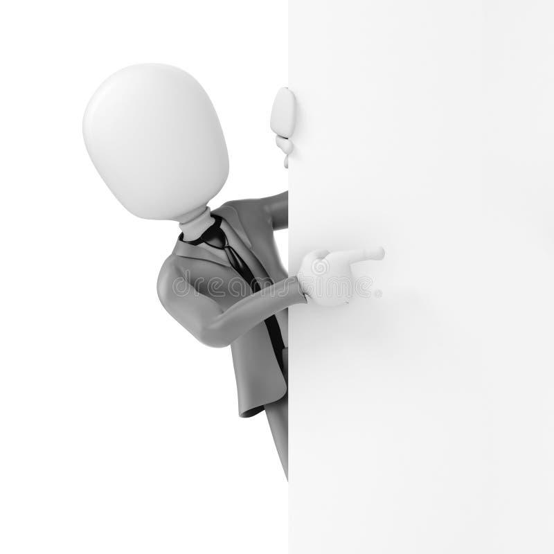 homme d'affaires de l'homme 3d se tenant derrière un conseil vide illustration libre de droits