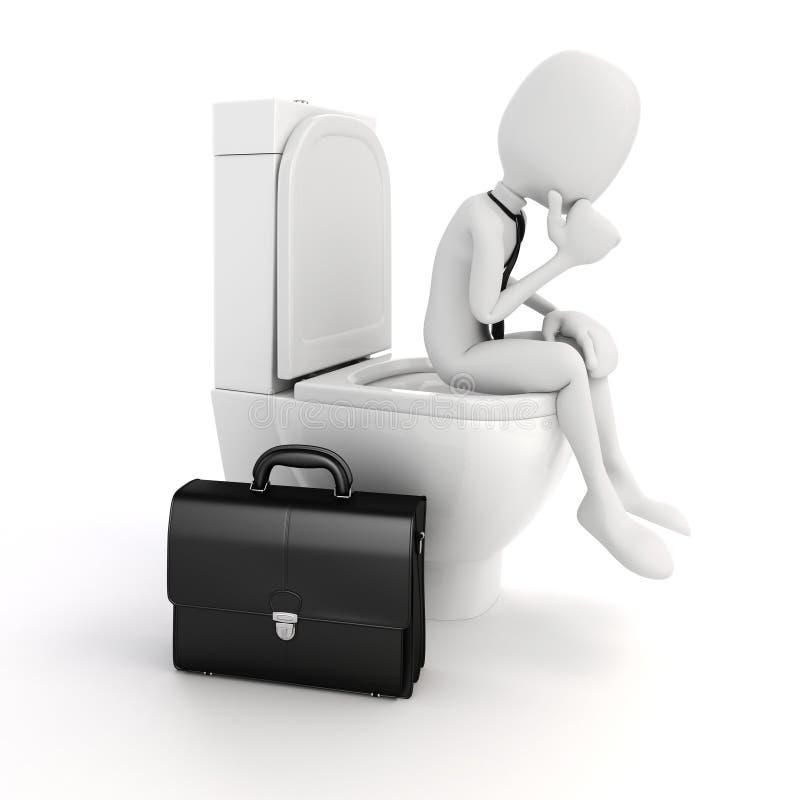 homme d'affaires de l'homme 3d sur le siège des toilettes illustration libre de droits