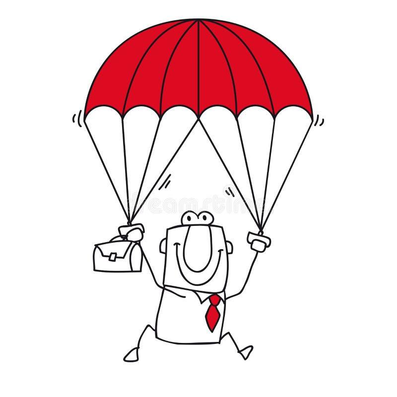 Homme d'affaires de parachutiste illustration stock