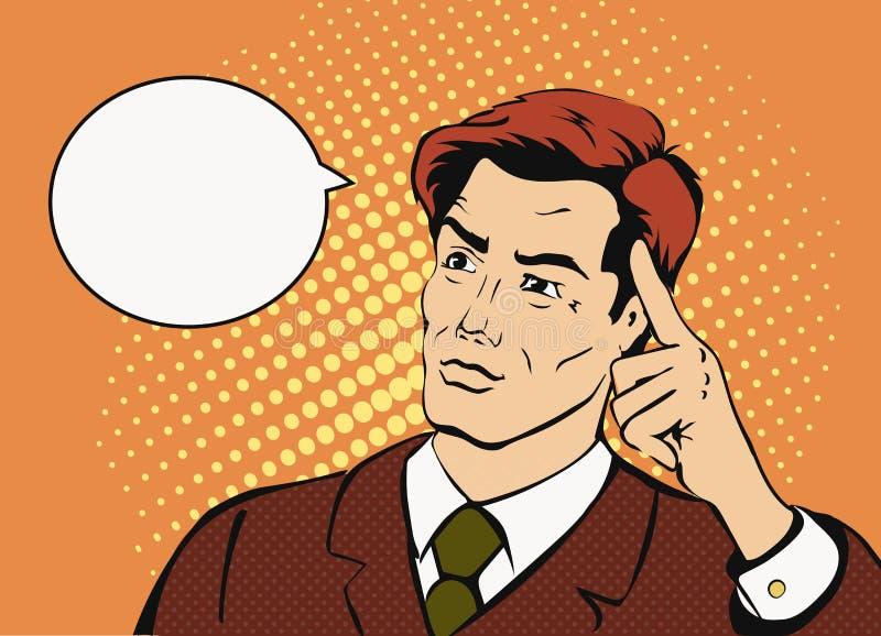 Homme d'affaires de pensée avec une bulle de la parole comique illustration de vecteur