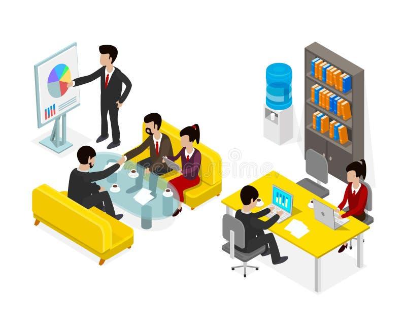 Homme d'affaires de personnes de bureau de Coworking illustration stock
