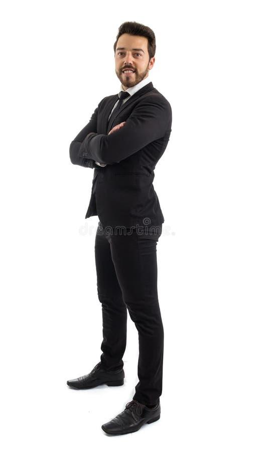 Homme d'affaires de profil Plein fuselage La belle et élégante personne est image libre de droits