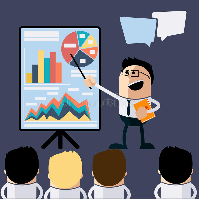 Homme d'affaires de réunion dirigeant la présentation illustration de vecteur