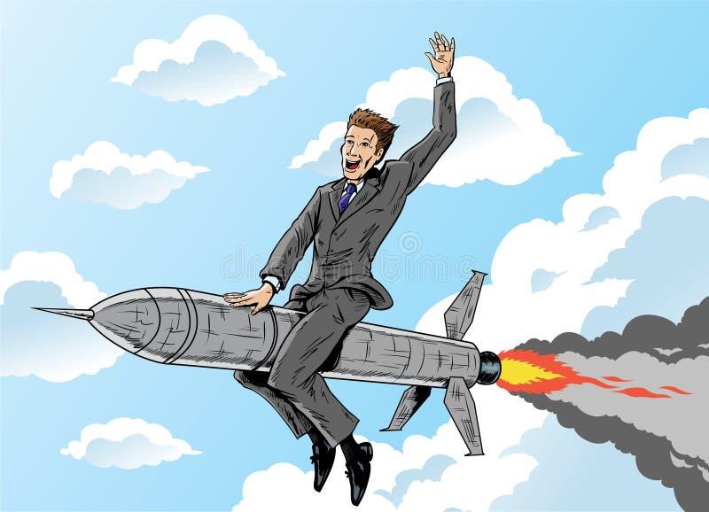 Homme d'affaires de Rocket illustration stock
