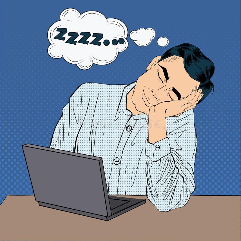 Homme d'affaires de sommeil fatigué au travail illustration stock