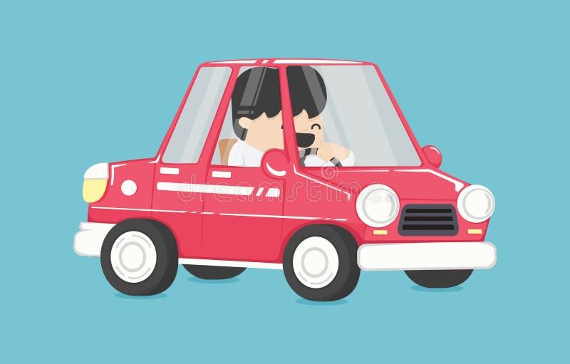 Homme d'affaires de sourire conduisant, homme d'affaires dans la voiture pour travailler illustration libre de droits