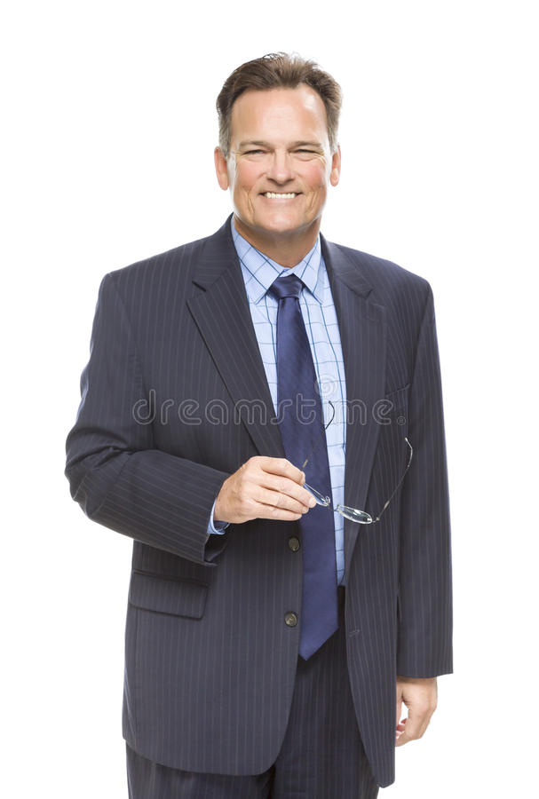 Homme d'affaires de sourire Portrait sur le blanc photo stock