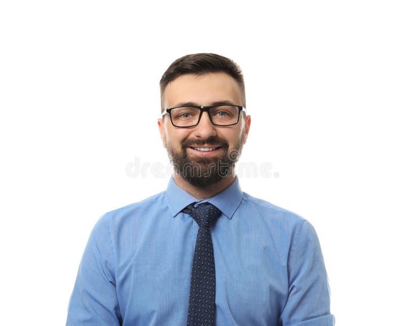 Homme d'affaires de sourire sur le fond blanc photos libres de droits