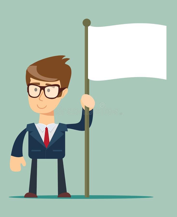 Homme d'affaires de sourire tenant le mât de drapeau avec le drapeau imaginaire illustration libre de droits