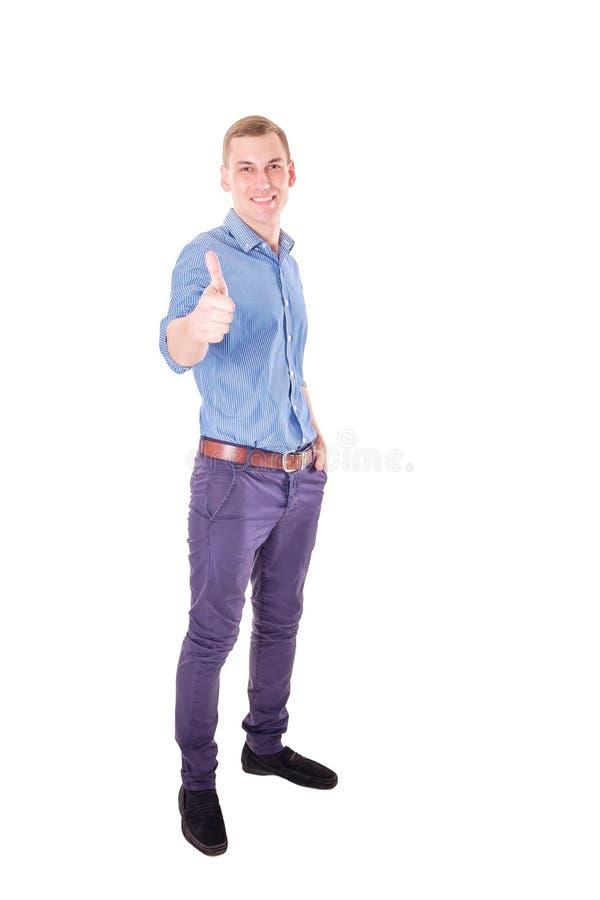 Homme d'affaires de succès avec le pouce- images libres de droits