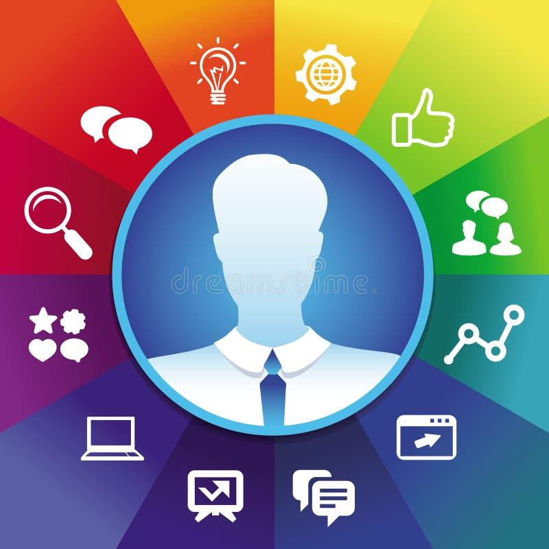 Homme d'affaires de vecteur et icoons sociaux de media illustration stock