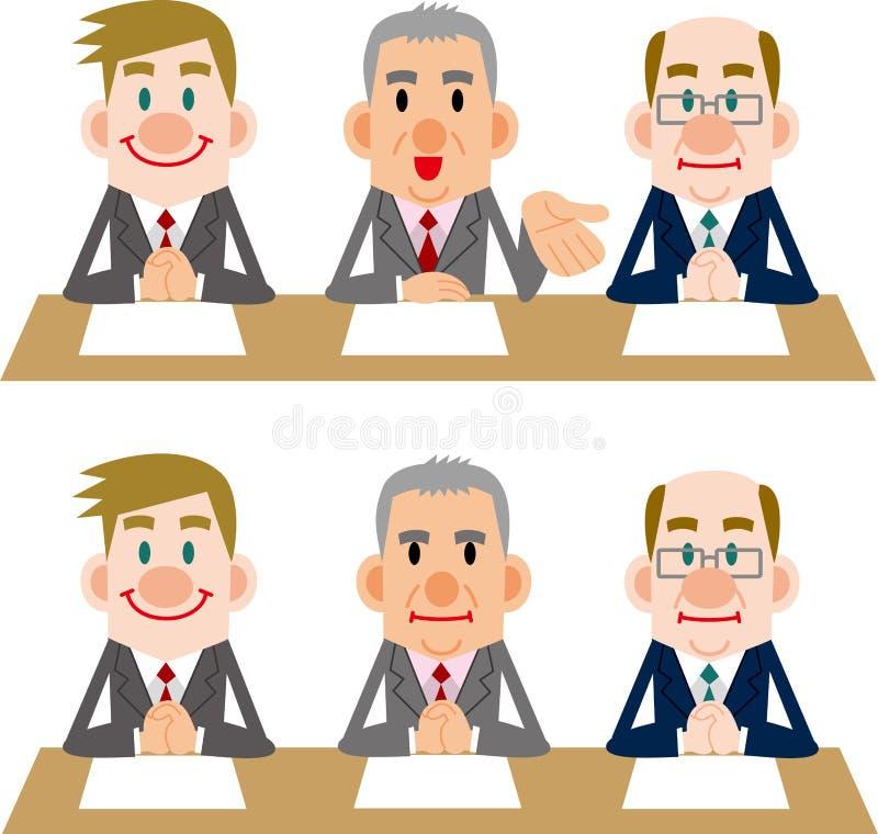 Homme d'affaires des réunions et des entrevues illustration stock