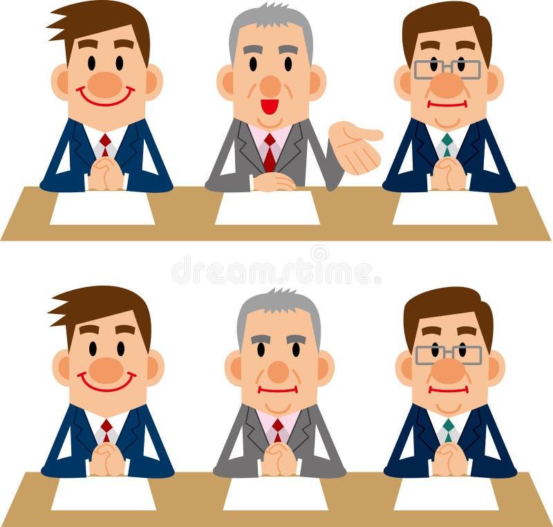 Homme d'affaires des réunions et des entrevues illustration libre de droits