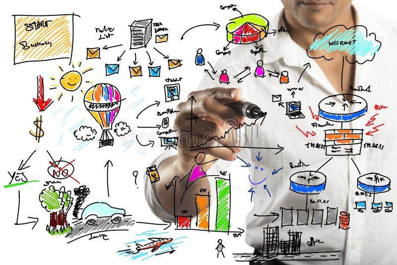 Homme d'affaires dessinant un nouveau projet image stock