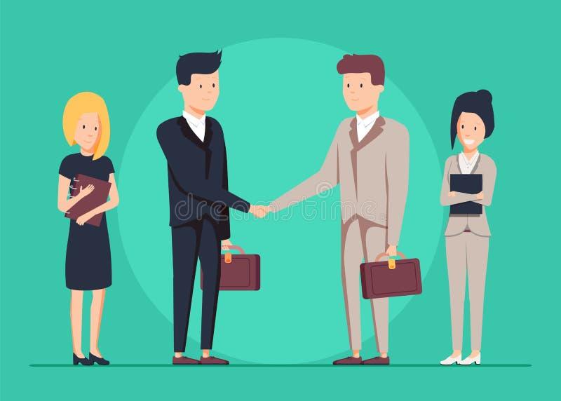 Homme d'affaires deux de sourire se serrant la main ensemble Et leurs assistants de femmes se tenant tout près illustration de vecteur