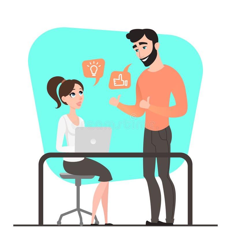 Homme d'affaires deux heureux Discussion de projet Type de dessin animé teamwork Gens d'affaires plat illustration libre de droits