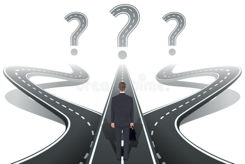 Homme d'affaires devant la question avec des routes illustration libre de droits