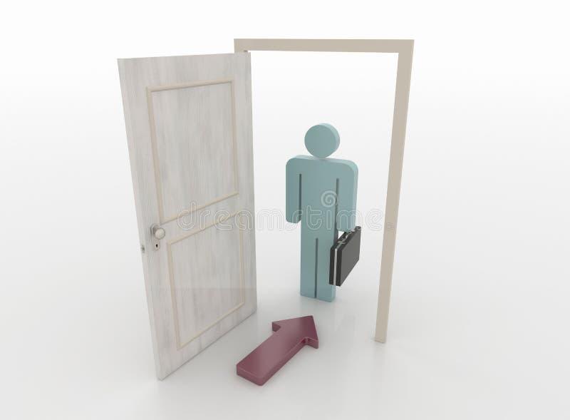 Homme d'affaires devant une porte ouverte avec le symbole de flèche, 3D Rende illustration stock