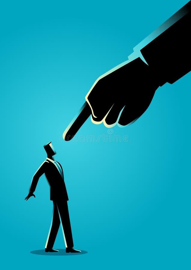 Homme d'affaires dirigé par le doigt géant illustration libre de droits