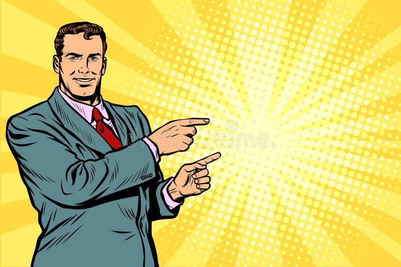 Homme d'affaires dirigeant le doigt au côté illustration stock