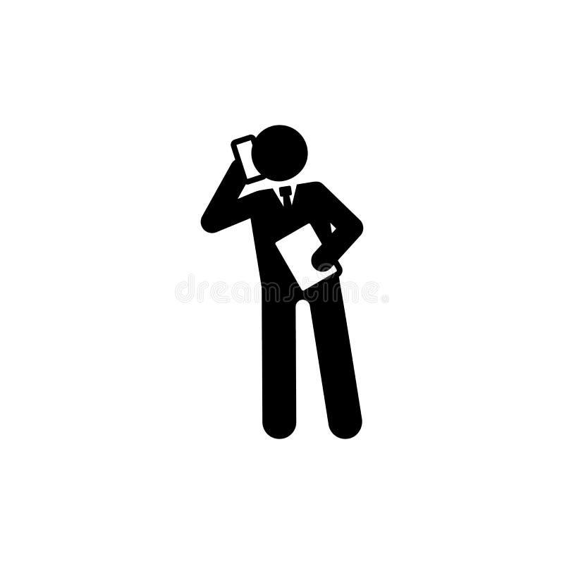 Homme d'affaires, document, téléphone, icône d'appel Élément d'icône de pictogramme d'homme d'affaires Ic?ne de la meilleure qual illustration de vecteur