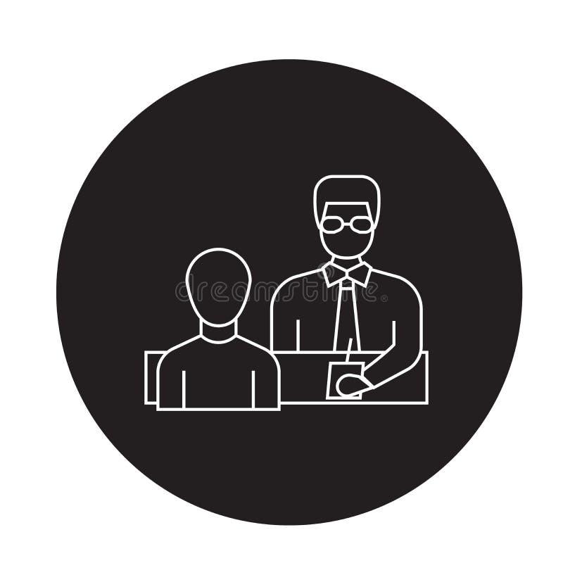Homme d'affaires donnant à instructions l'icône noire de concept de vecteur Homme d'affaires donnant à instructions l'illustratio illustration libre de droits