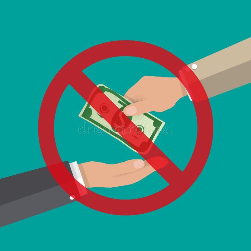 Homme d'affaires donnant l'argent à la main anti corruption illustration de vecteur