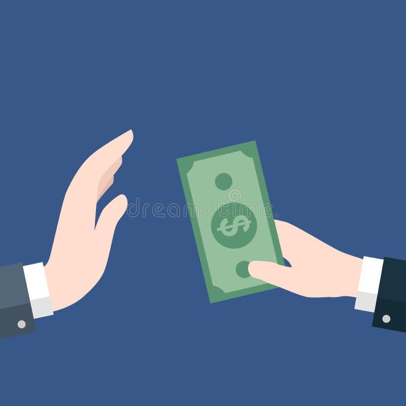 Homme d'affaires donnant l'argent, aucune corruption - dirigez la conception plate illustration de vecteur