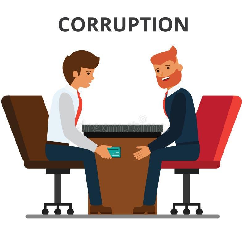 Homme d'affaires donnant l'argent de paiement illicite illustration stock