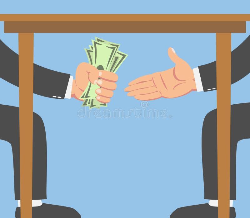 Homme d'affaires donnant l'argent sous une table illustration de vecteur