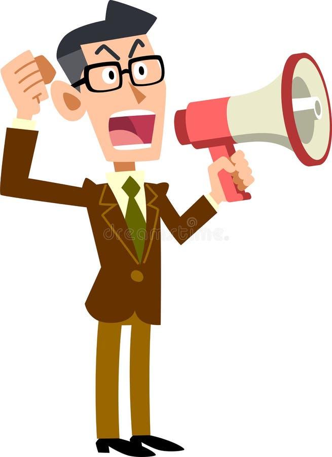 Homme d'affaires donnant ses avis avec un haut-parleur illustration de vecteur