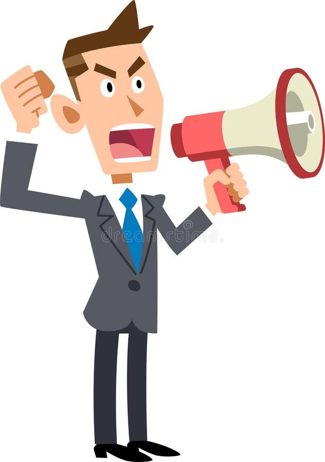Homme d'affaires donnant son avis avec un haut-parleur illustration de vecteur