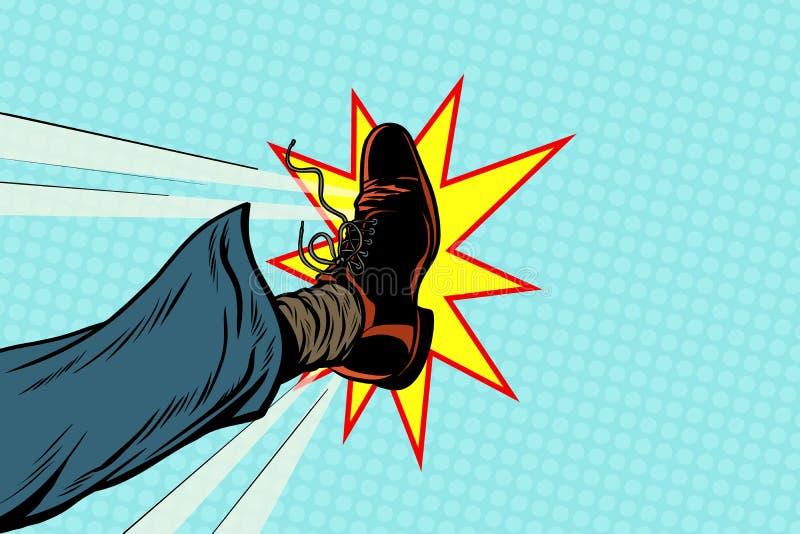 Homme d'affaires donnant un coup de pied, pied d'art de bruit illustration libre de droits