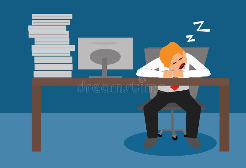Homme d'affaires dormant au bureau illustration de vecteur