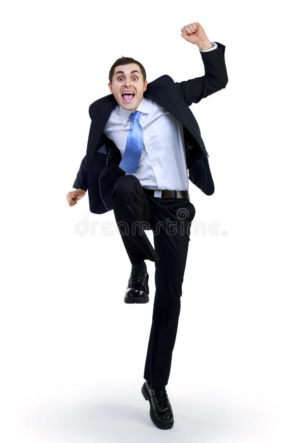 Homme d'affaires drôle heureux images stock
