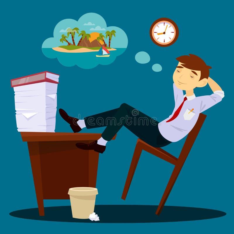 Homme d'affaires Dreaming About Vacation Homme d'affaires paresseux illustration de vecteur
