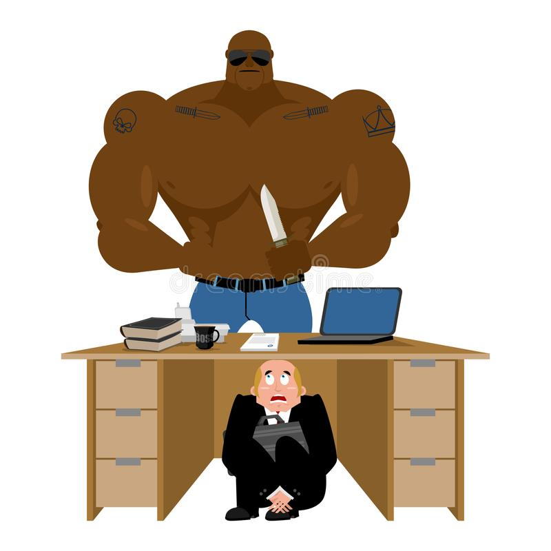 Homme d'affaires effrayé sous la table du voleur affaires effrayées mA illustration stock