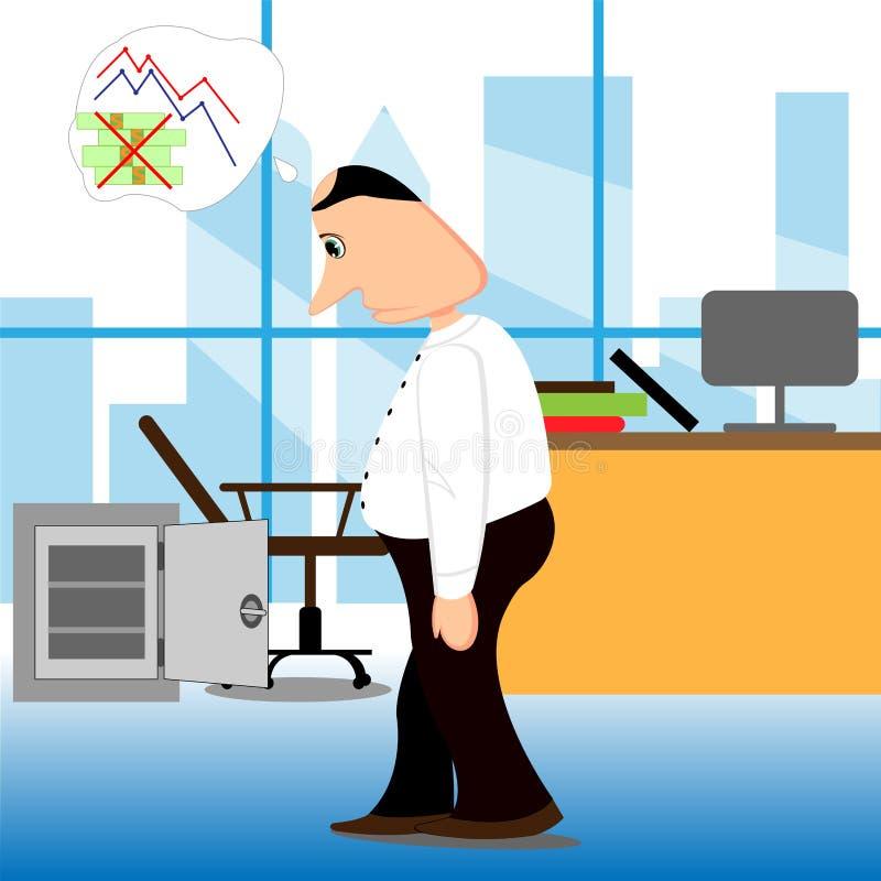 homme d'affaires en faillite Crise financière Illustration de vecteur ailette illustration stock