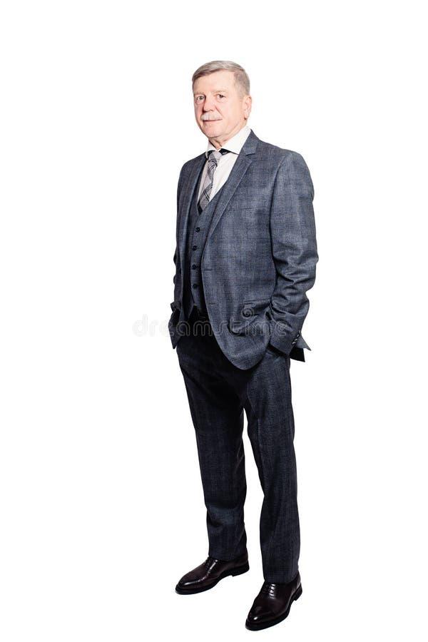 Homme d'affaires en Gray Suit Isolated sur le blanc photographie stock