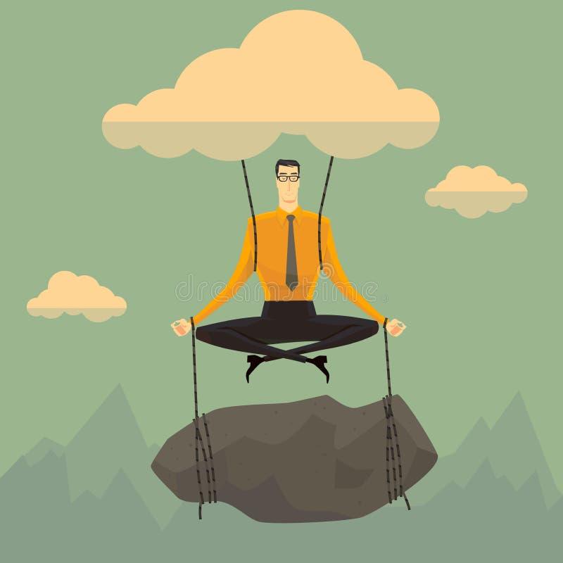 Homme d'affaires en position de ciel illustration libre de droits