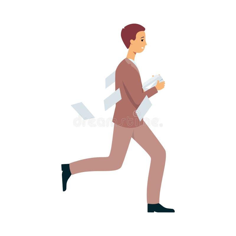 Homme d'affaires en retard pour le travail ou la date-butoir, papiers fonctionnants et de pertes de travailleur dans la hâte illustration libre de droits