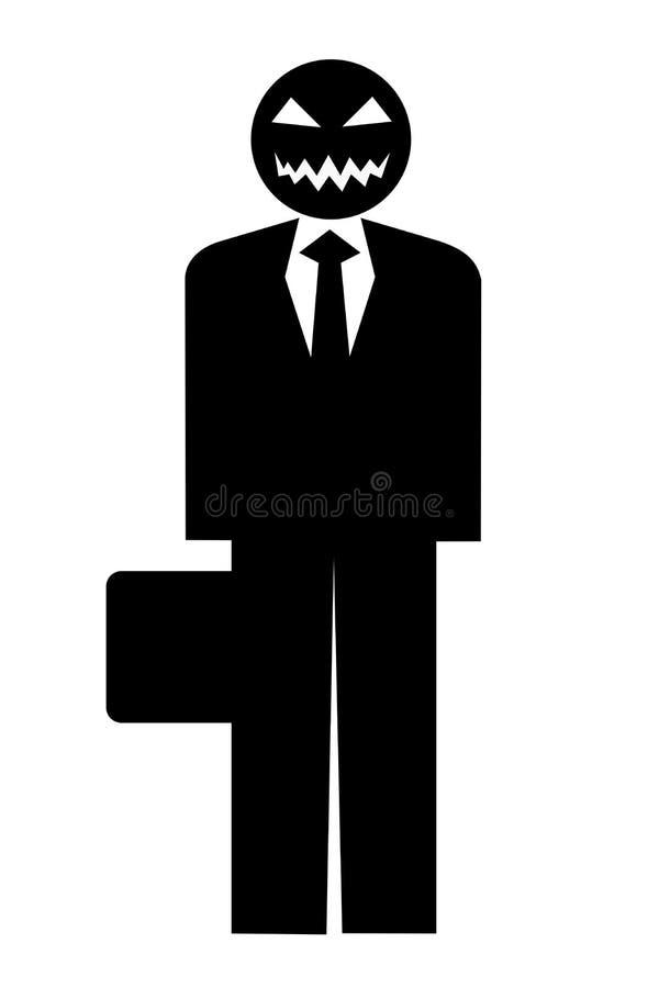 Homme d'affaires en tant que bête menaçante et effrayante illustration libre de droits