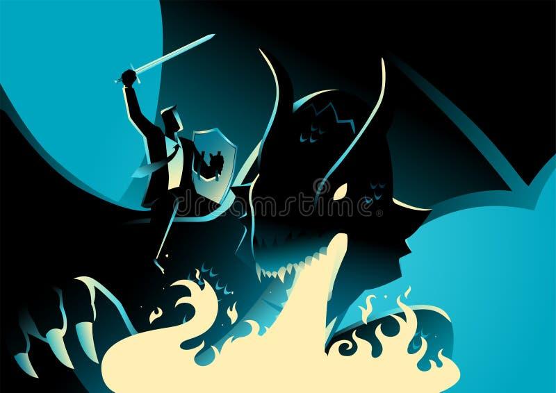 Homme d'affaires en tant que Dragon Rider illustration de vecteur