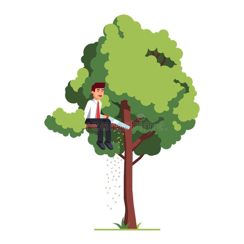 Homme d'affaires en train de scier la branche de l'arbre illustration libre de droits