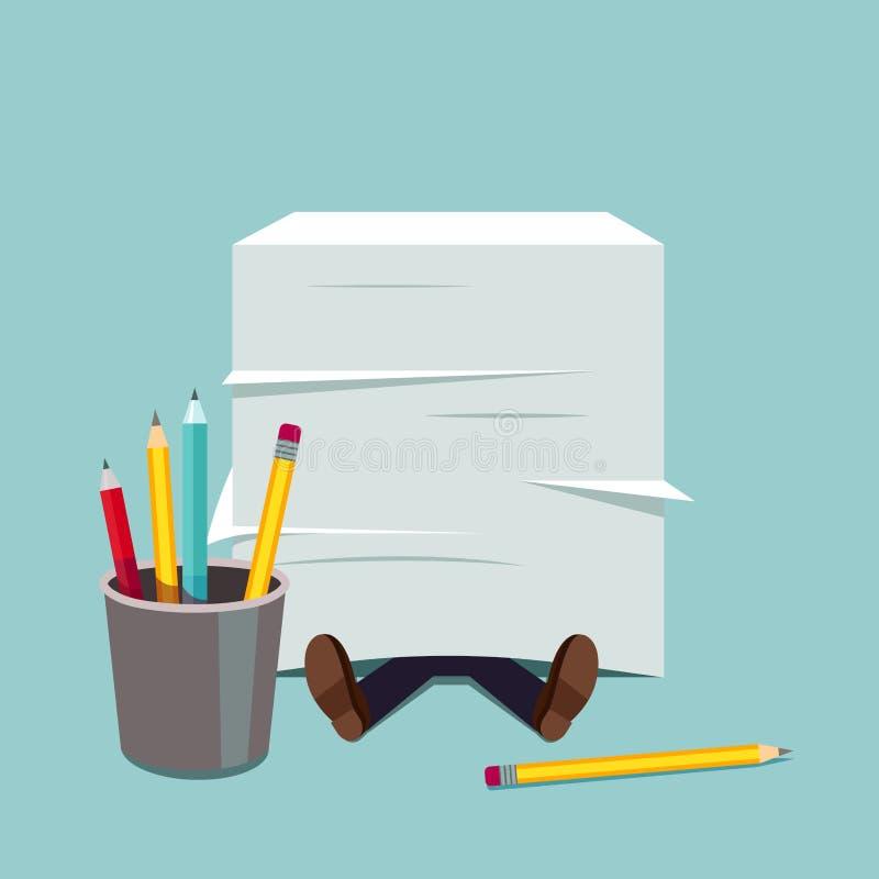 Homme d'affaires enterré sous la pile énorme de papier de document illustration libre de droits