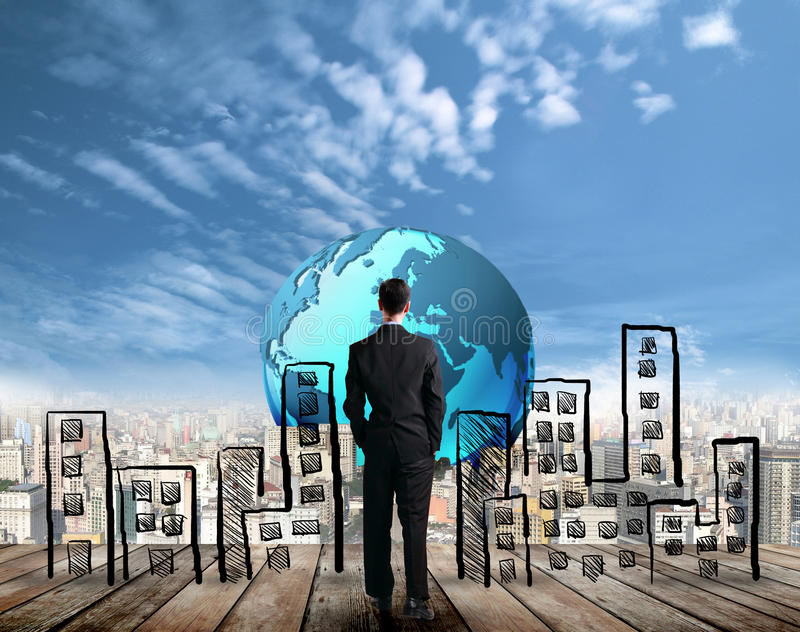 Homme d'affaires envisageant le succès l'avenir photographie stock libre de droits