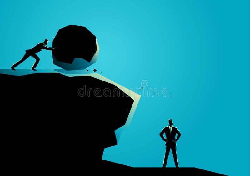 Homme d'affaires essayant d'éliminer l'autre homme d'affaires avec la grande roche illustration stock